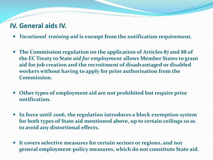 IV. General aids IV.