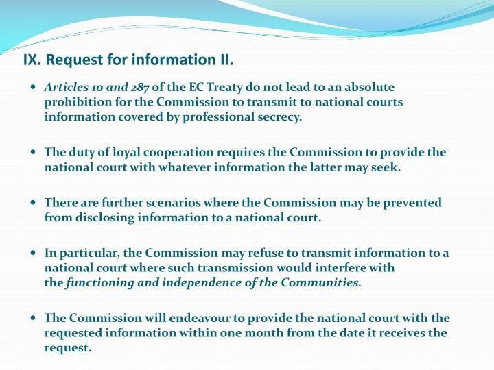 IX. Request for information II.