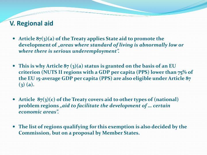 V. Regional aid