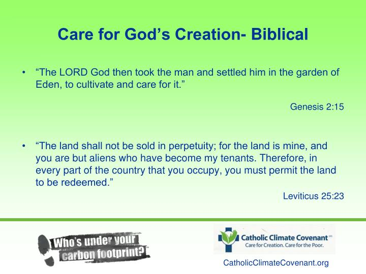 Care for God's Creation- Biblical