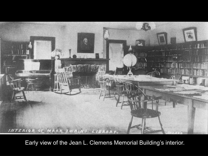 Early view of the Jean L. Clemens Memorial Building's interior.