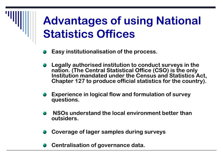 Advantages of using National Statistics Offices