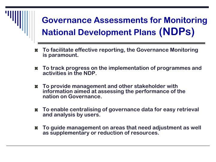 Governance assessments for monitoring national development plans ndps
