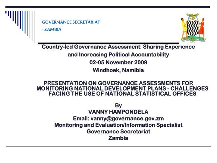 Governance secretariat zambia