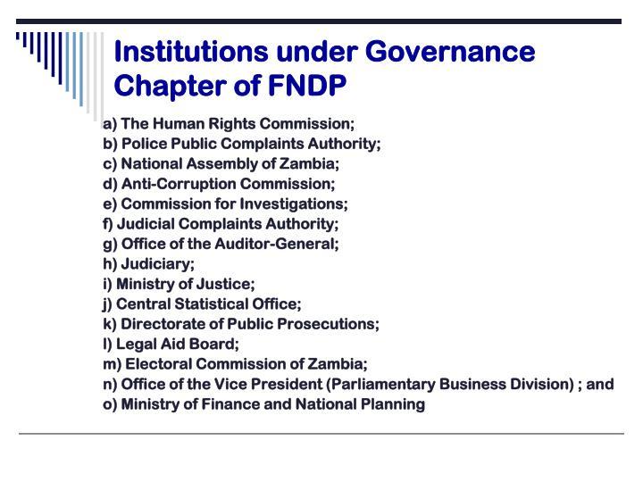 Institutions under Governance Chapter of FNDP