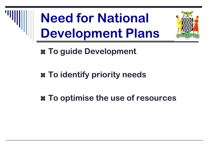 Need for national development plans