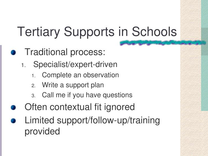 Tertiary Supports in Schools