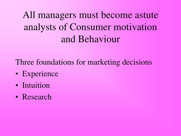 All managers must become astute analysts of Consumer motivation and Behaviour