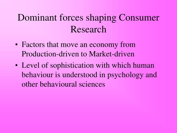 Dominant forces shaping Consumer Research