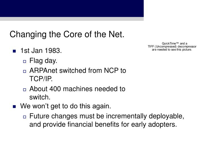 Changing the Core of the Net.