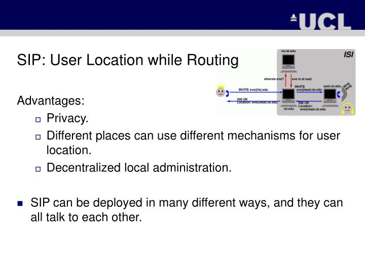 SIP: User Location while Routing