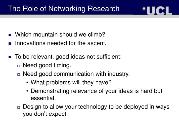 The Role of Networking Research