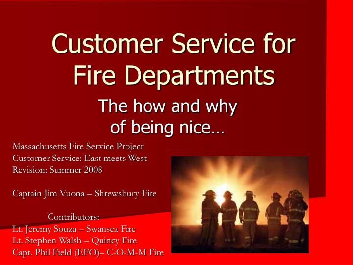 customer service for fire departments n.