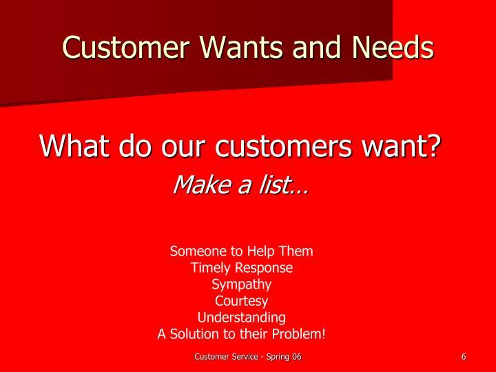 Customer Wants and Needs