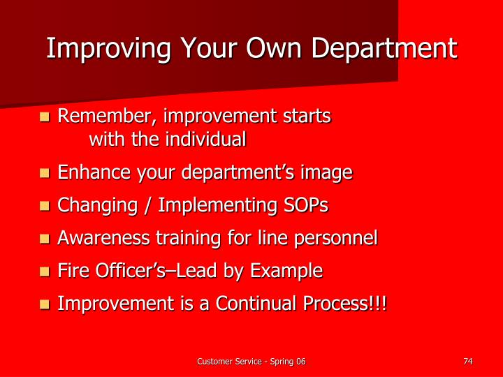 Improving Your Own Department