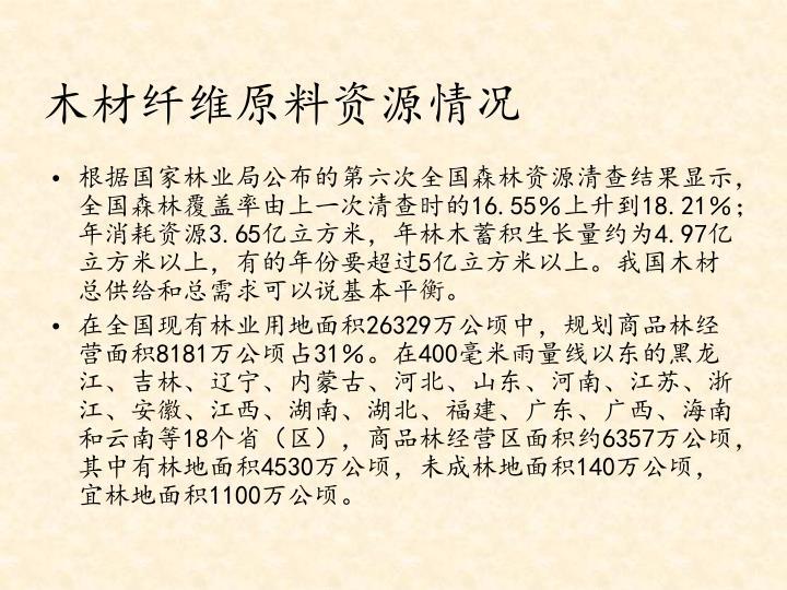 木材纤维原料资源情况