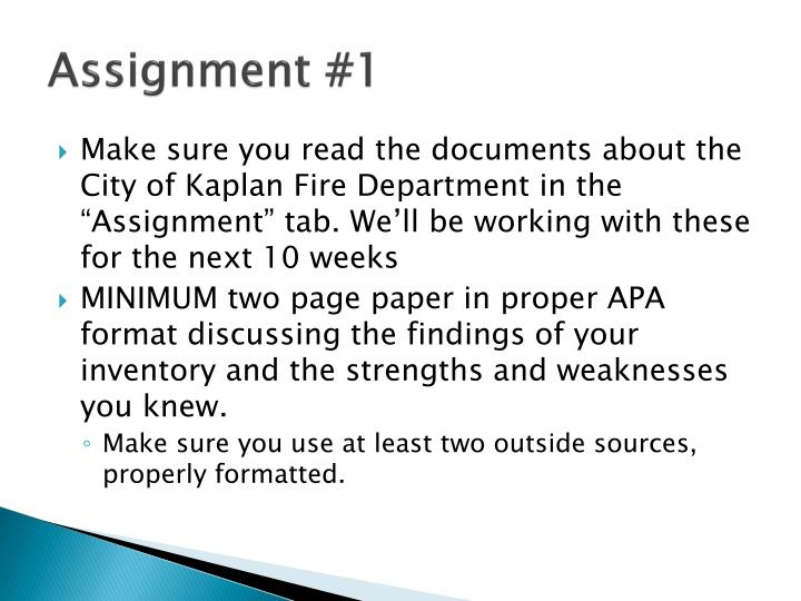 Assignment #1