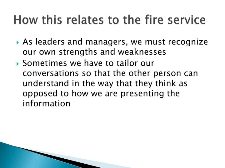 How this relates to the fire service