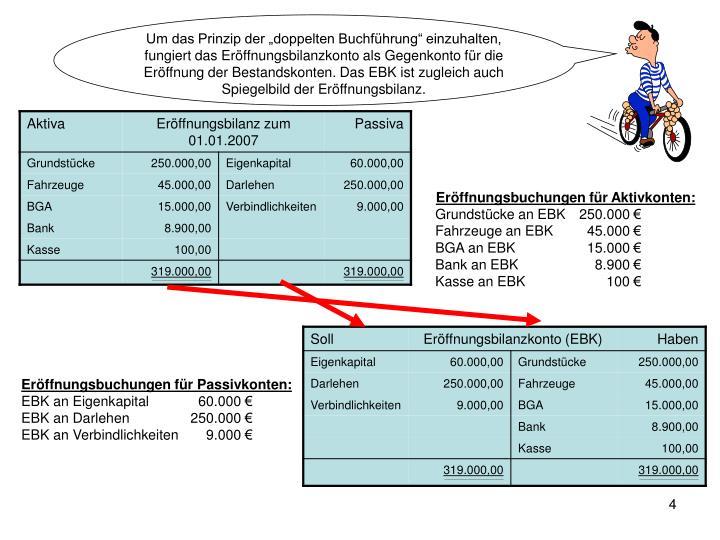"""Um das Prinzip der """"doppelten Buchführung"""" einzuhalten, fungiert das Eröffnungsbilanzkonto als Gegenkonto für die Eröffnung der Bestandskonten. Das EBK ist zugleich auch Spiegelbild der Eröffnungsbilanz."""