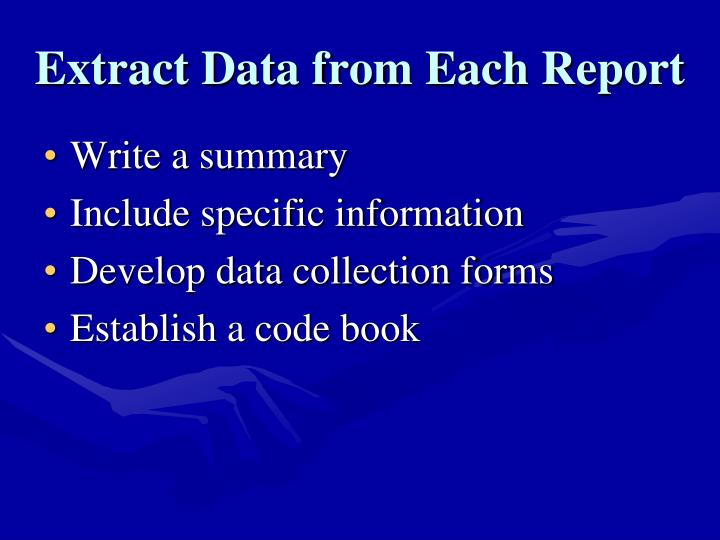 Extract Data from Each Report