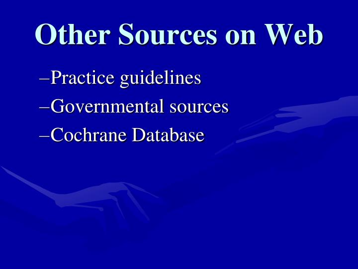 Other Sources on Web