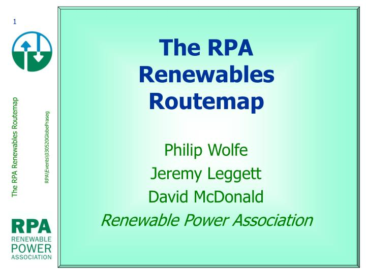 The rpa renewables routemap