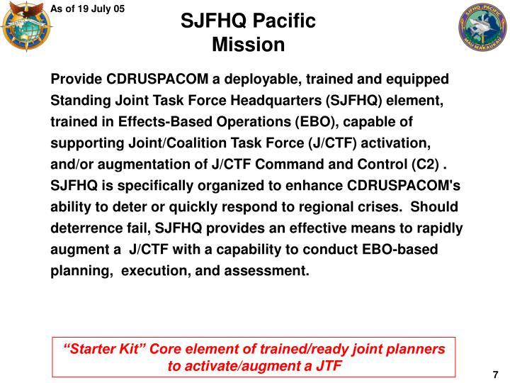 SJFHQ Pacific Mission