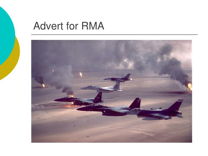Advert for RMA