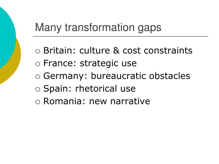 Many transformation gaps