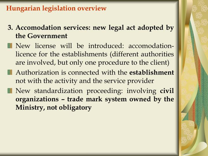 Hungarian legislation overview
