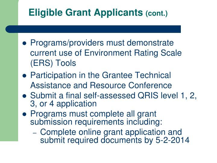 Eligible Grant Applicants