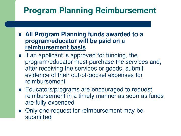 Program Planning Reimbursement