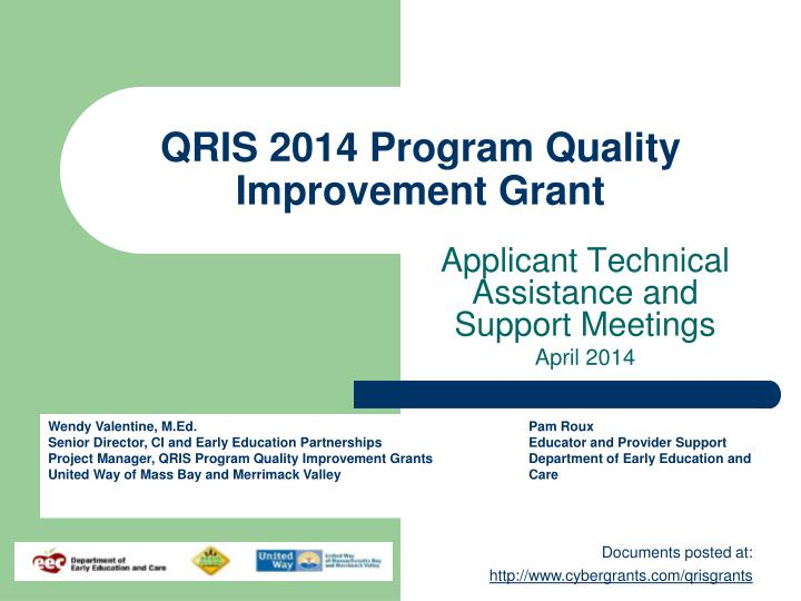 Qris 2014 program quality improvement grant