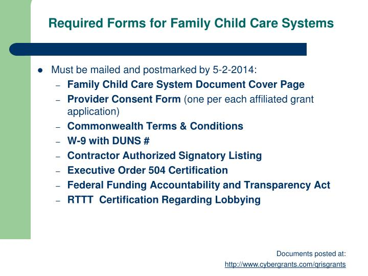Required Forms for Family Child Care Systems