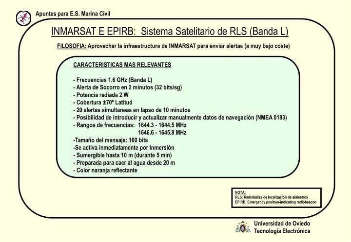 INMARSAT E EPIRB:  Sistema Satelitario de RLS (Banda L)