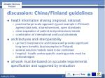 discussion china finland guidelines