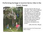 performing heritage in tourism farms hike in the forest haanja