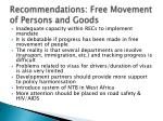 recommendations free movement of persons and goods