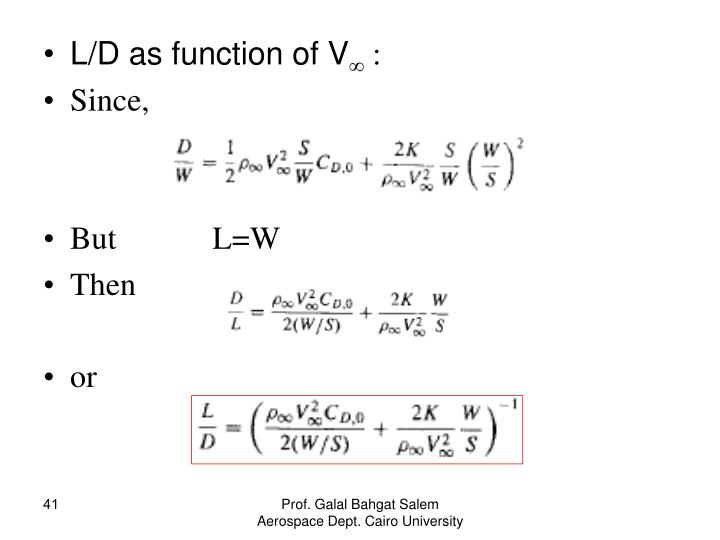 L/D as function of V