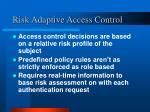 risk adaptive access control