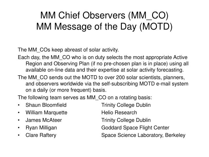 Mm chief observers mm co mm message of the day motd