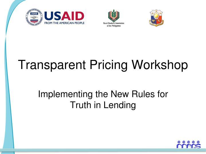 transparent pricing workshop n.