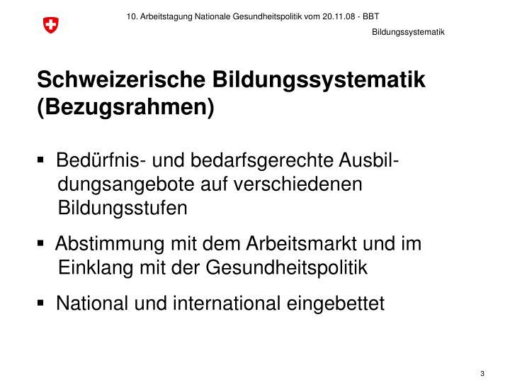 Schweizerische bildungssystematik bezugsrahmen