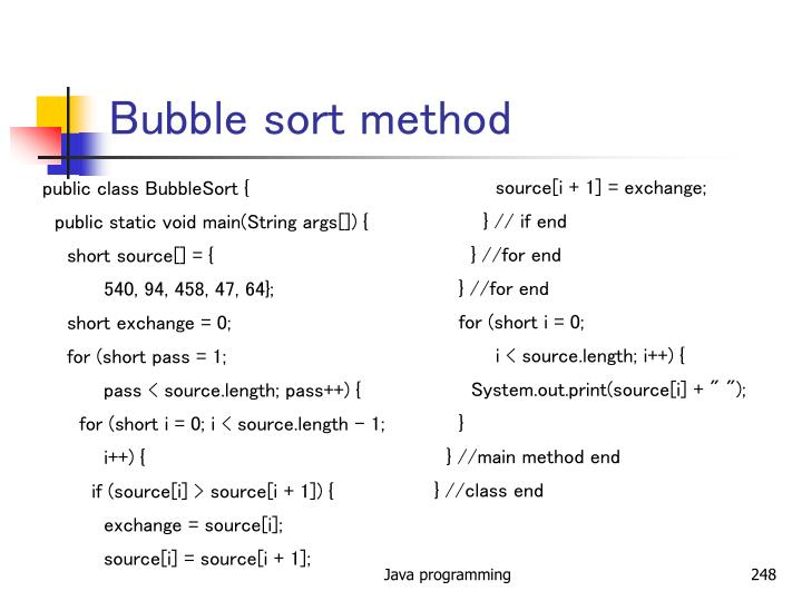 Bubble sort method