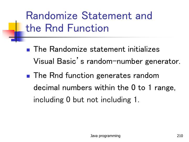 Randomize Statement and