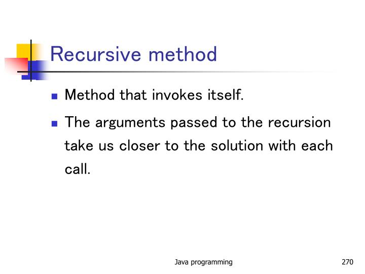 Recursive method