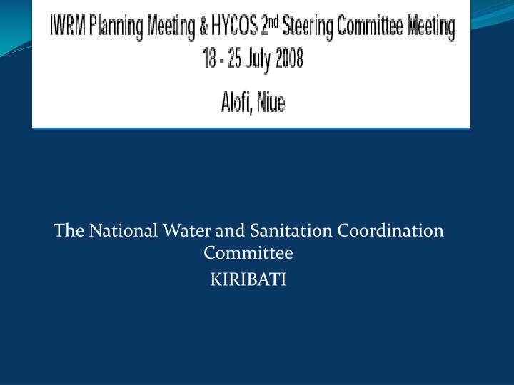 the national water and sanitation coordination committee kiribati