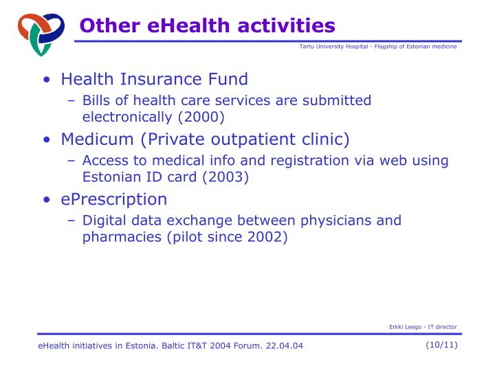 Other eHealth activities