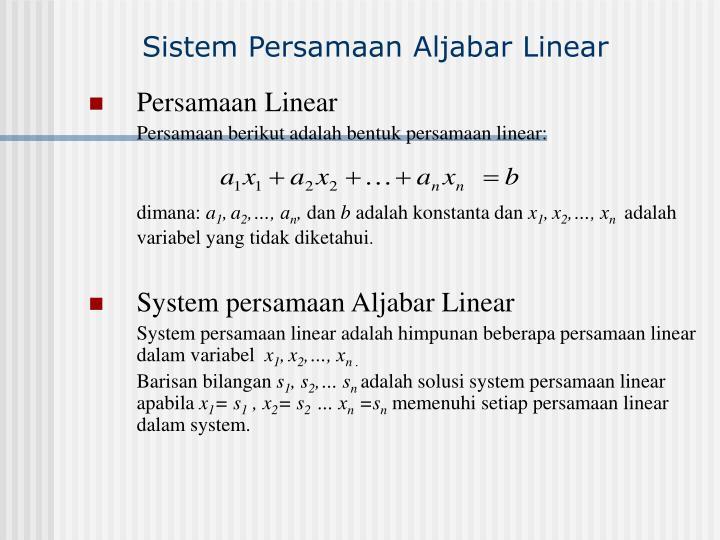 Sistem persamaan aljabar linear