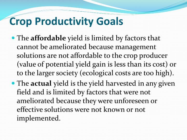 Crop Productivity Goals
